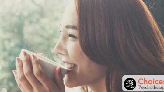 Binge Eating Disorder, happy woman enjoying coffee