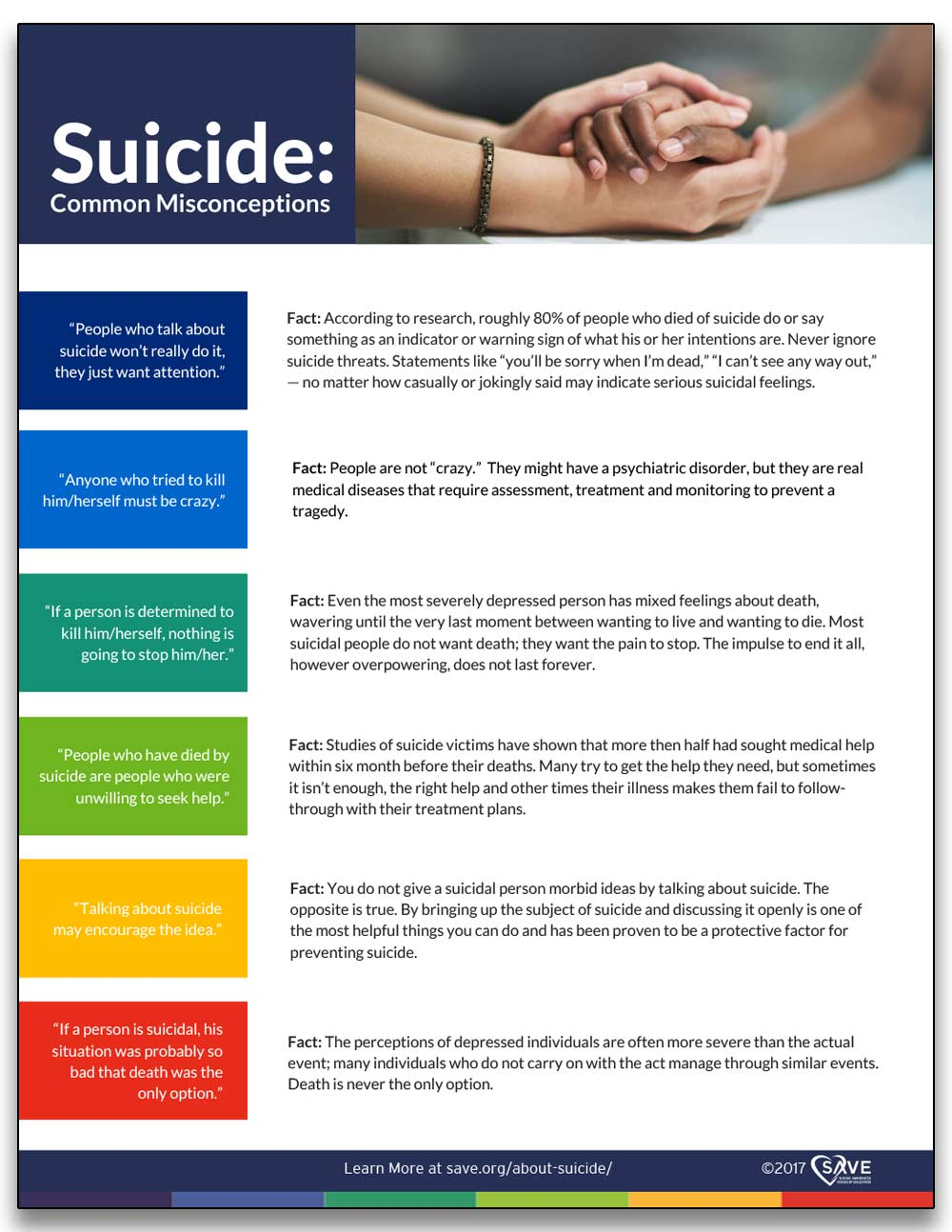 information sheet about suicide common misconceptions