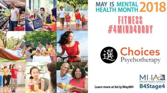 Choices Psychotherapy Celebrates Mental Health Month, collage of happy people