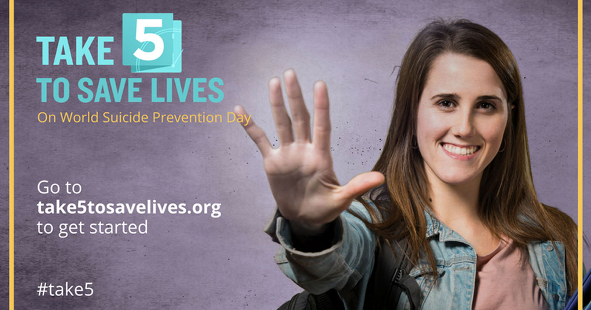 World Suicide Prevention Day 2017,take 5 to save lives, smiling woman showing five fingers