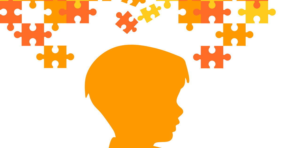 Autism, silhouette of a child's profile