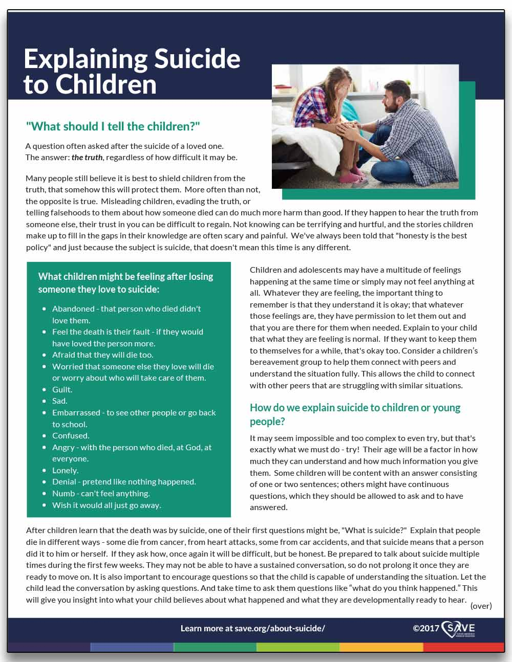 information sheet about explaining suicide to children