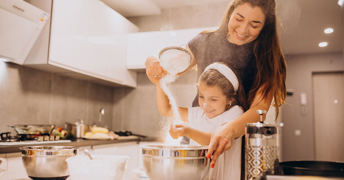 Holiday Stress, mother and daughter baking