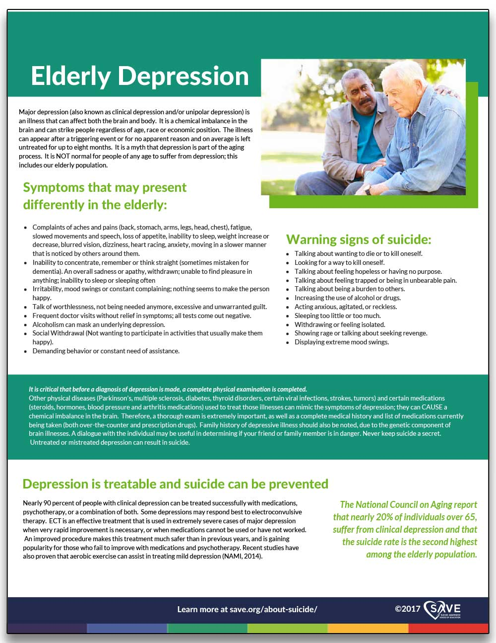 information sheet about elderly depression