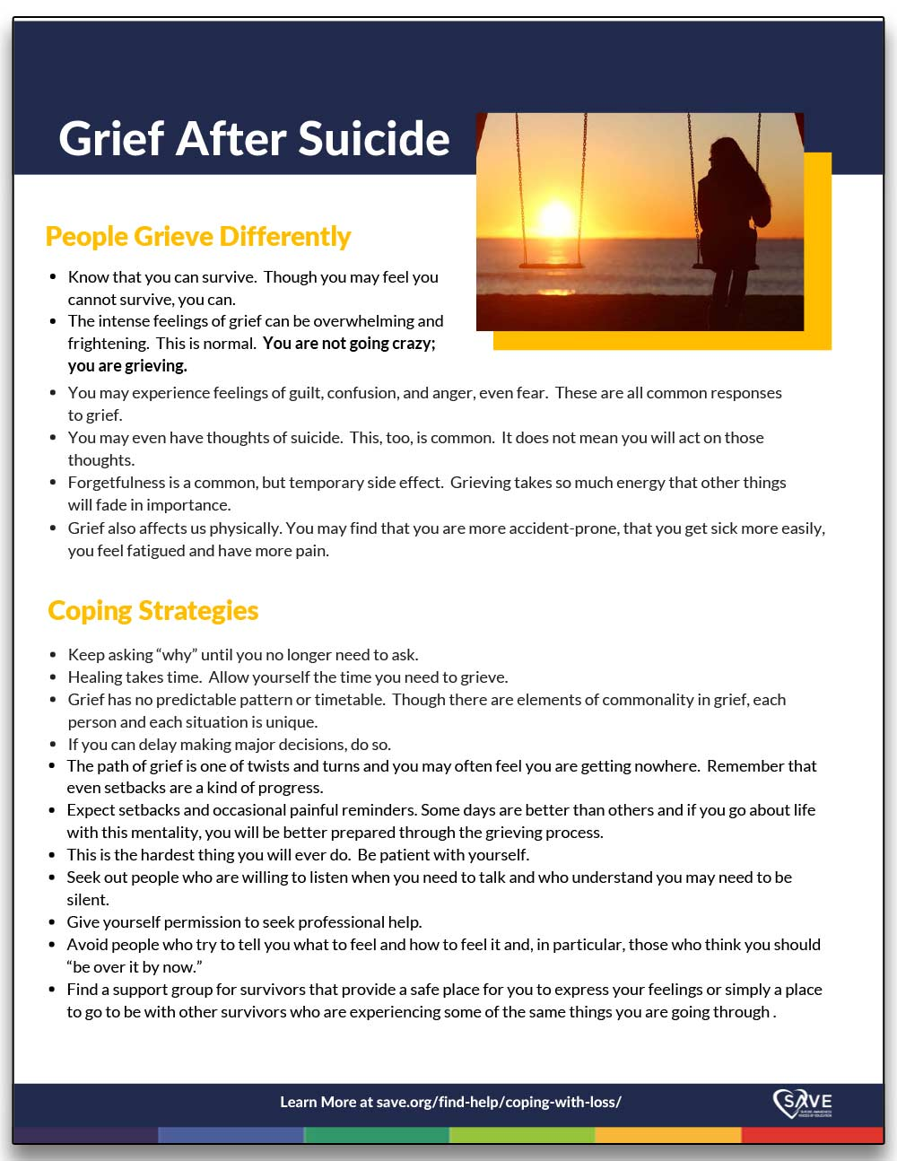 information sheet about grief after suicide