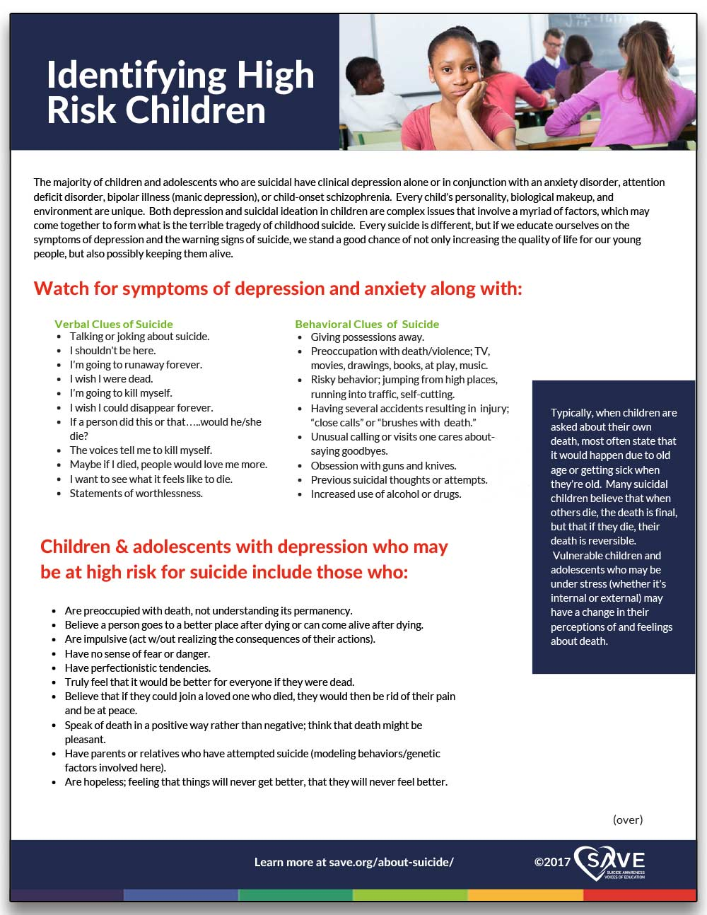 information sheet about identifying suicide in high risk children