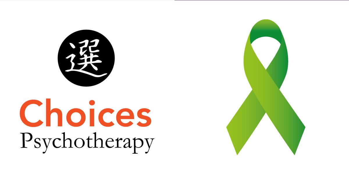 mental health month, choices logo, green ribbon