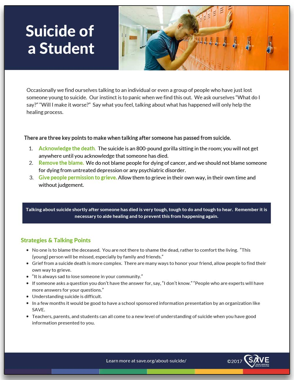 information sheet about discussing suicide of a student