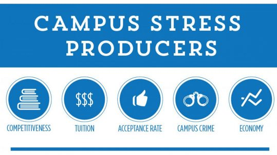 Student Suicides, campus stress producers, competitiveness, tuition, acceptance rate, campus crime, economy