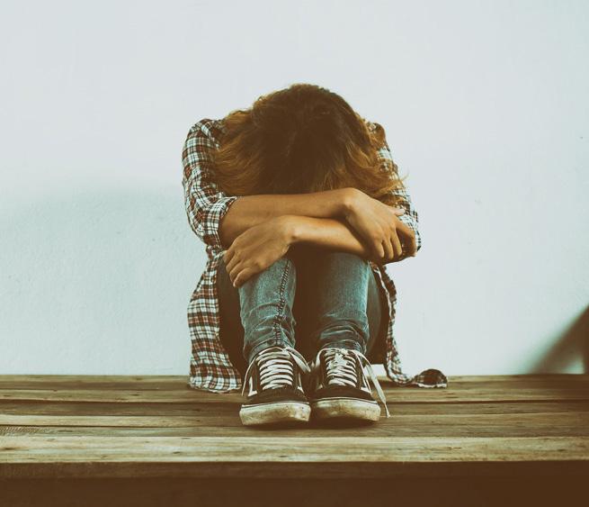 sad person sitting